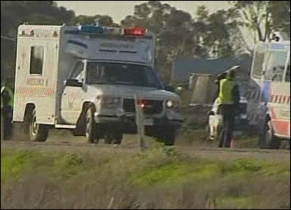 Ambulance at the scene of the crash in Victoria state, Australia