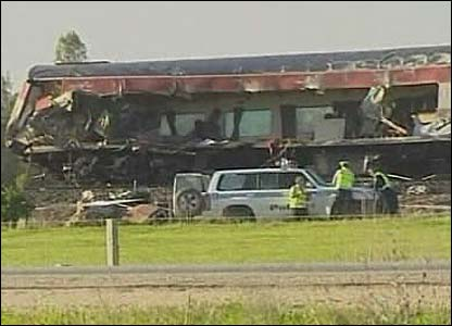 Television picture grab of the train wreckage