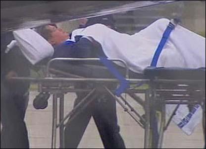 An injured victim of the train crash in Victoria state, Australia