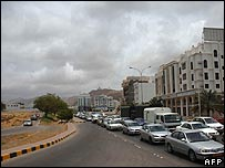 Grey clouds over Muscat at Cyclone Gonu approaches