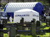 Forensic tent over exhumation site