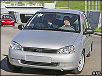 President Putin at wheel of new car at Avtovaz plant, 18 May 07