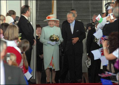 The Queen was presented with flowers after the ceremony