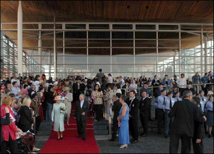 Crowds had gathered outside the Senedd building for a glimpse of the Royal Family