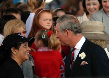 Prince Charles and the Duchess of Cornwall met people on the steps of the Senedd