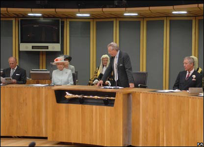 Lord Elis Thomas welcomed the Royal Family to the Senedd debating chamber