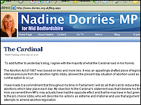 Nadine Dorries' blog page