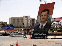 Poster of Bashar al-Assad at post-referendum celebrations