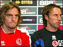 Middlesbrough's Jonathan Woodgate (left) with manager Gareth Southgate