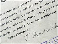 El pasaje donde James Chadwick sugiere mantener los descubrimientos en secreto