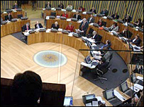 View of the Senedd from the public chamber