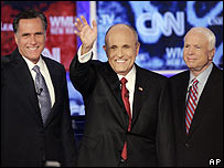 Republican contenders Mitt Romney, Rudy Giuliani and John McCain