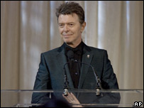 David Bowie collecting his Webby award