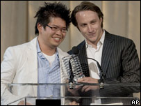 YouTube creators Steve Chen and Chad Hurley pick up their Webby award