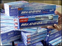 Chinese-made Mr Cool tainted toothpaste is displayed for the camera at the control and registry office of the Ministry of Health in San Jose, Friday May 25, 2007.
