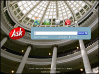Screengrab of Ask homepage, Ask