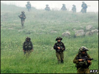 Israeli forces on exercises in the Golan in march