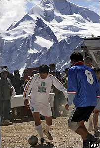 Bolivian President Evo Morales plays football in the Andes