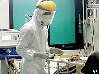 A suspected bird flu patient receives medical treatment at a hospital in Solo, Central Java, Indonesia, Wednesday, April 4, 2007.
