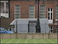 A removal van at Downing Street