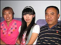 Shi Meng and her parents, taxi driver Shi Mingjie and his wife Li Lingchen, a housewife.