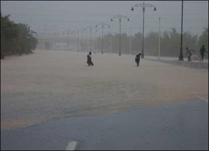 Flooded street in Muscat