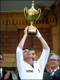 Dermot Reeve lifts the B&H Cup in 1994