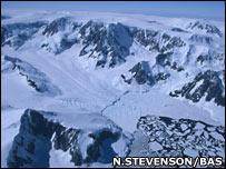 Aerial shot of glacial terrain (Neil Stevenson/Bas)