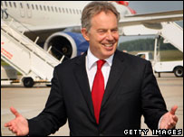 Tony Blair arriving in Germany for G8