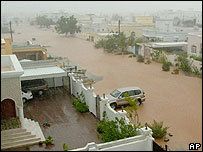 Omani street full of water