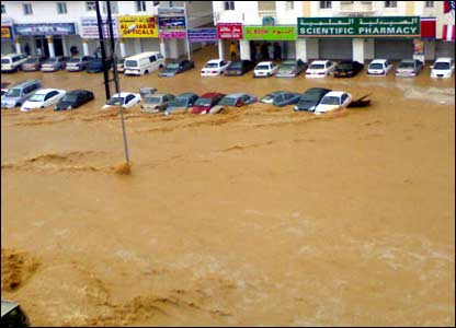 Cars submerged in Muscat