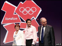 From left: Culture Secretary Tessa Jowell, London 2012's Sebastian Coe, London Mayor Ken Livingstone