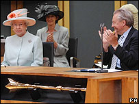 The Queen is applauded in the Senedd