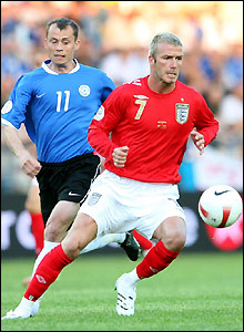Beckham shields the ball from Segei Terehhov