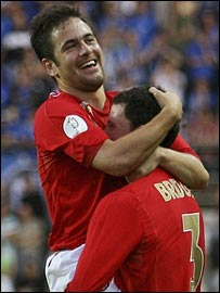 Joe Cole celebrates England's opener with Wayne Bridge