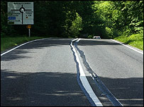 The wobbly road markings