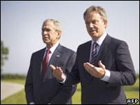 President Bush and UK PM Tony Blair