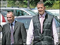 PA file photo of Quantock Staghounds leader Richard Down (left), and whipper-in Adrian Pillivan. arrive at an earlier hearing