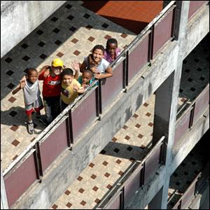 Children in an appartment block in Kinshasa