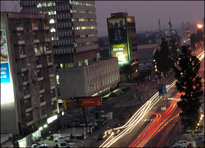 A night-time shot of the main boulevard in Kinshasa