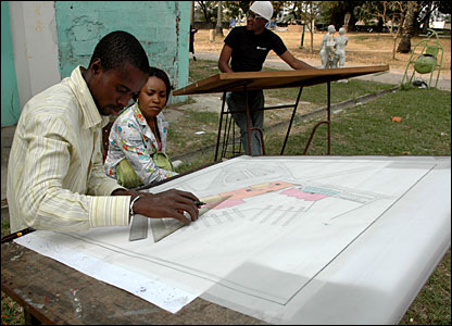 Students in Kinshasa working on plans to renovate the city