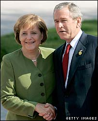 German Chancellor Angela Merkel and US President George W Bush in Heiligendamm