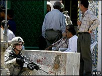 US soldier outside a mosque in Baghdad Bayaa district (file photo)