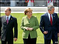 Путин, Меркель и Буш во время саммита ''Большой восьмерки''
