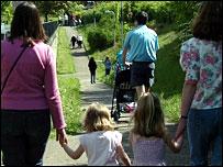 Parents and children walking to school
