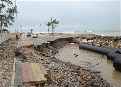A broken up road in Oman.