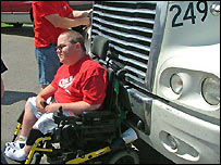 Unidentified 21-year-old man in Michigan state in his wheelchair lodged in the front of a truck