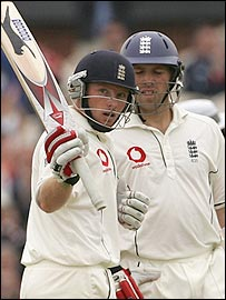 Ian Bell (left) is England's best hope of a substantial total after ending day one on 77