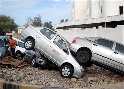 Cars damaged by Cyclone Gonu