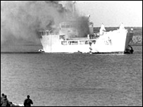 Sir Galahad ablaze in Bluff Cove on 8 June 1982